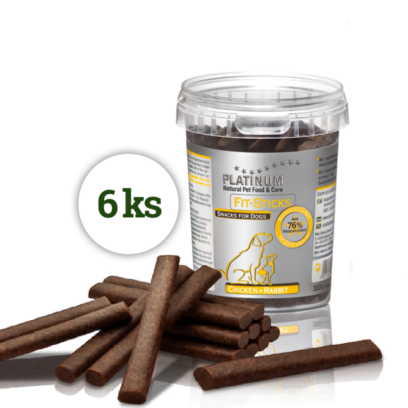 Platinum FIT-STICKS králík+kuře 1,8kg (6x300g)
